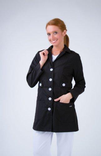 Landau 3012 Women's Trench Style Lab Coat Black X-Small (Nursing Coat Cotton)