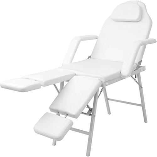 vidaXL White Beauty Salon Facial Adjustable Bed Tattoo Parlor Spa Massage Table Chair