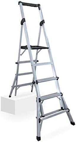 Escalera de tijera telescópica altura regulable: Amazon.es: Bricolaje y herramientas