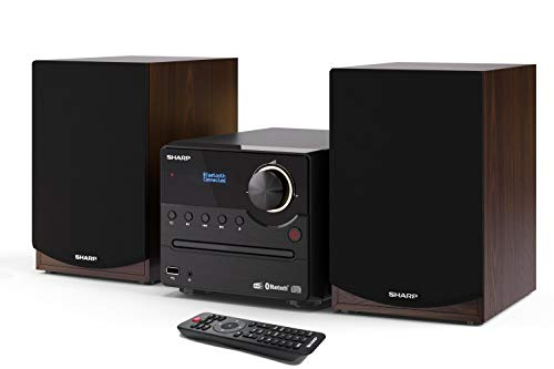 SHARP XL-B517D(BR) Micro Sound System Stereo met DAB, DAB+, FM, Bluetooth, CD-MP3, USB-weergave, houten luidspreker en…