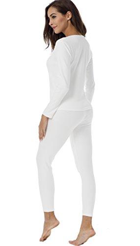 HieasyFit Women's Cotton Thermal Sets 2pcs Underwear Top & Bottom Pajama with Fleece Lined(Ecru XL) by HieasyFit (Image #4)