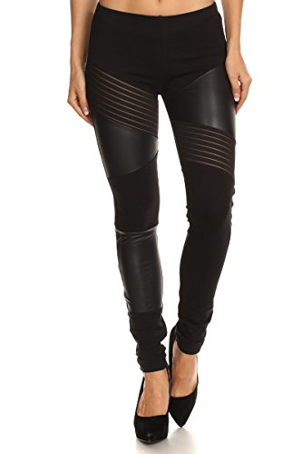 J2 LOVE Faux Leather and Mesh Detail Moto Legging (S-5X)