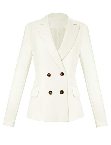 GRAPENT Women's Double Breasted Long Sleeve Lapel Work Office Blazer Jacket Top White Color, Size L