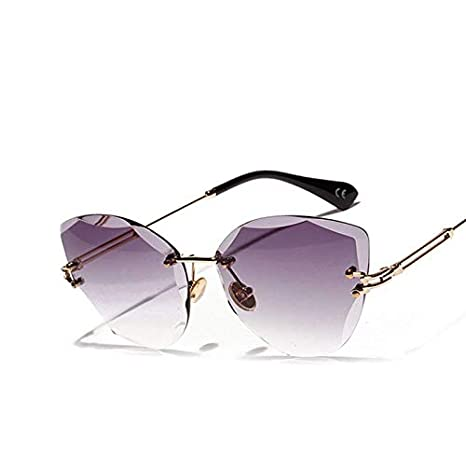 0d1458717 Image Unavailable. Image not available for. Color: AAMOUSE Sunglasses  Rimless Clear Sunglasses Women Cat Eye Pink Brown Green ...