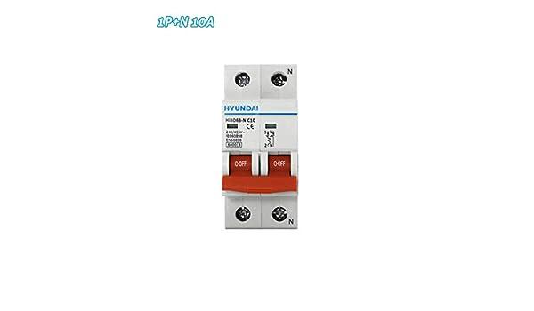 Interruptor automático magnetotérmico 1P+N 10A HYUNDAI: Amazon.es ...