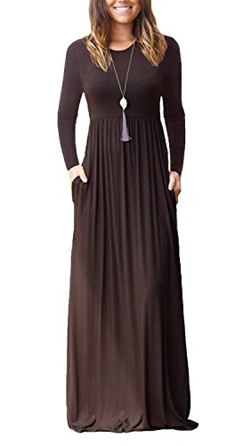 Eelivero Women Long Sleeve Maxi Dress Plain Swing Casual Long Dresses with Pockets