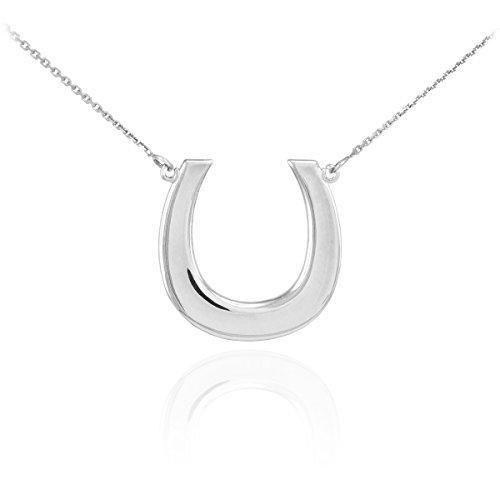 14k White Gold Lucky Horseshoe Pendant Necklace, 16