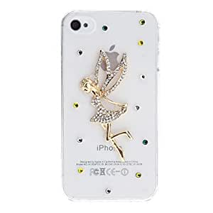 Diamond Look 3D Dragonfly Fairy Design Transparent PC Hard Case for iPhone 4/4S (Assorted Colors) , Silver
