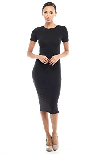 2LUV Women's Short Sleeve Crewneck Bodycon Midi Dress Black M