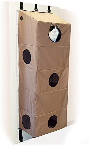 K H Pet Products Hangin Cat Condo Large Tan 23 X 16 X 65 Cat Furniture Amazon Co Uk Pet Supplies