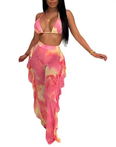 - Women Sexy 2 Piece Outfits Spaghetti Strap Halter Bra Crop Top Ruffled High Waist Wide Leg Pants Set Summer Plus Size