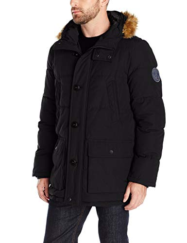 - Tommy Hilfiger Men's Arctic Cloth Full Length Quilted Snorkel with Removable Faux Fur Trimmed Hood and Ultra Loft Isulation, Black, L