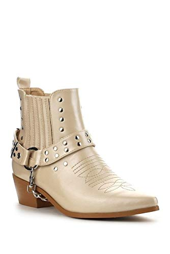 Nude Pointy Toe Ankle High Block Heel Western Cowboy Cowgirl Boot Bootie 6.5