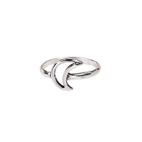 Love Knot Look Ring - Baigoods Simple Knot Open Adjustable Ring for women Star Moon Triangle Love (moon)