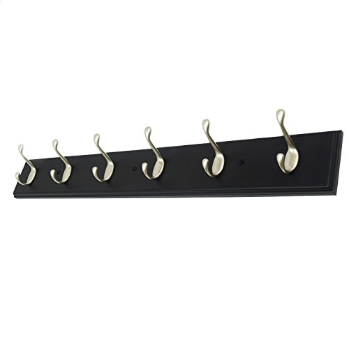 27 Inch Wide Black Rail/Rack with 6 Heavy Duty Pearl Silver Coat and Hat Hook, Entryway Rack/ Bathroom Towel Hanger, Made in USA