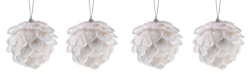 Clever Creations Shatterproof Christmas Tree Sparkling Pinecone Ornaments Large White 3.25