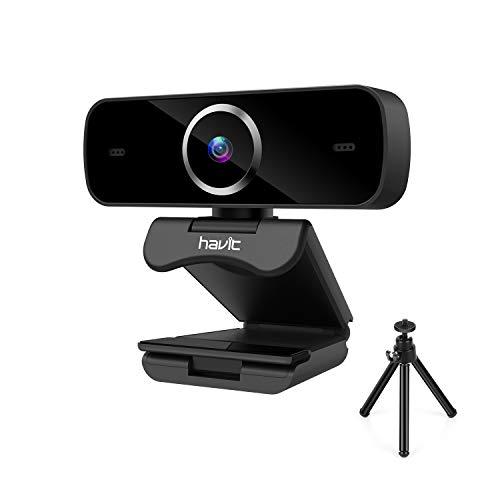 🥇 havit Webcam 1080P Enfoque automático Cámara Web Full HD USB 2.0 con Micrófono de reducción de Ruido Incorporado