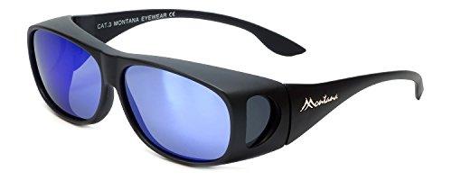 Montana Fitover Sunglasses F02H in Matte Black & Polarized Blue Mirror Lens 63mm