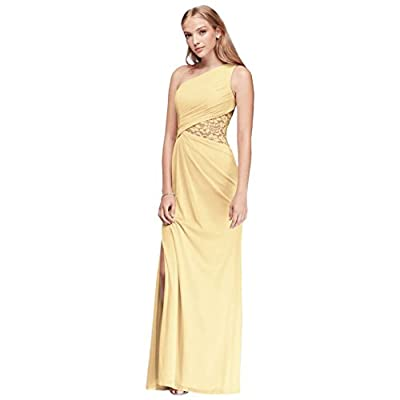 One-Shoulder Mesh Bridesmaid Dress with Lace Inset Style F19419