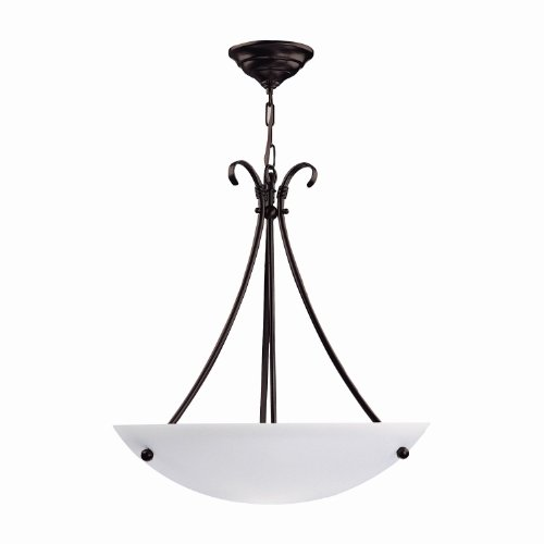 Large Pendant Bowl Glass (DVI DVP3203SN 3 Light Georgian Bowl Large Pendant Light)