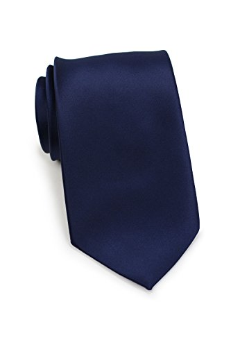 - Bows-N-Ties Men's Necktie Solid Color Microfiber Satin Tie 3.25 Inches (Navy Blue)