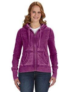 J. America Women's Ladies Zen Full Zip Hooded Sweatshirt, Very Very Berry, X-Small