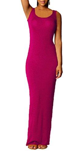 de Maxi Cuello Chalecos Dress Playa Mangas Verano Partido Colores de Vestido Cóctel Redondo Apretado Mujeres Sin Lisos Fiesta Vestidos q0W4ZAw