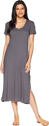 Allen Allen Women's Short Sleeve V-Neck Long Dress Flint Medium - Allen Allen Womens Clothing