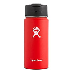 Hydro Flask 20 oz Double Wall Vacuum Insulated Stainless Steel Water Bottle / Travel Coffee Mug, Wide Mouth with BPA Free Hydro Flip Cap, Lava