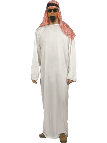 Smiffy's Men's Fake Sheikh Arab Costume with Long Tunic and Headdress, White - Large