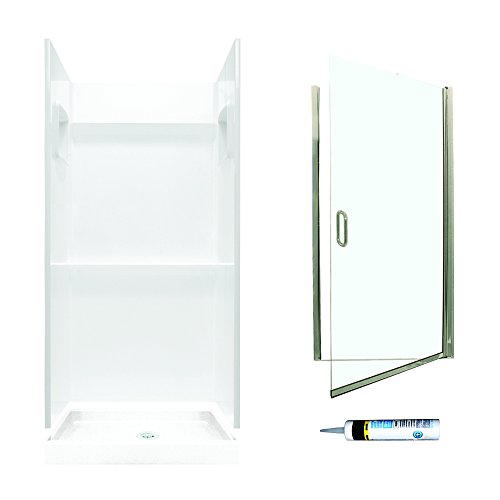 (Swanstone SVP3232010-M28570NC Veritek Alcove Shower Kit 32-Inch x 32-Inch x 72-Inch with Frameless Nickel Door and Clear Glass,)