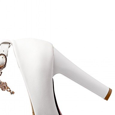 pwne Tacones Mujer Verano Otoño Comfort Novedad Charol Sintético Pu Oficina Boda &Amp; Carrera Paseos Ocasionales Chunky Heel Lace-Upred Beige US6 / EU36 / UK4 / CN36
