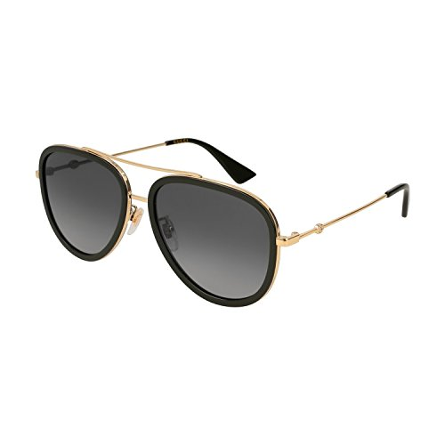 eaaa00352afa Gucci Gg 0062S 011 Black Gold Metal Aviator Sunglasses Grey Gradient  Polarized Lens
