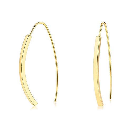 (Arc Bar Dangle Drop Earrings for Women Girls Stainess Steel 14K Gold Plated Simple Minimalist Geometric Rectangular Open Wire Hoop Cuff Curving Threader Hypoallergenic Stud Personalized Jewelry Gifts)