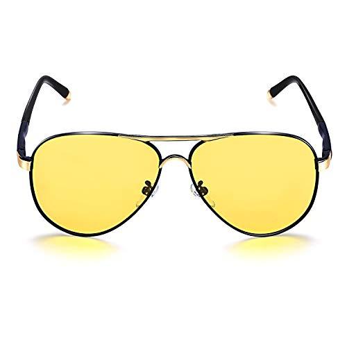 1b41c73e83f ROCKNIGHT Polarized Night Vision Aviator Sunglasses for Men Women Metal  Driving Sunglasses Yellow Glasses Anti Glare UV400