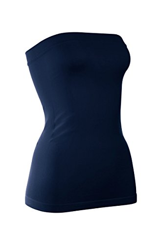 Kurve Plus Size The Excellent Stretch Long Bandeau Tube Top (L/XL, XL/XXL) -Made in USA- Dark Navy