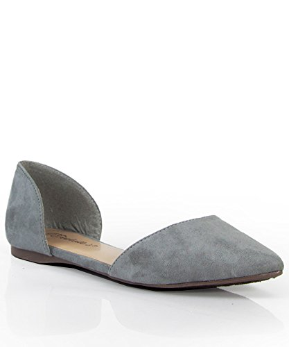 Breckelles Women's Faux Suede D'Orsay Pointed Toe Flats Gray 6.5