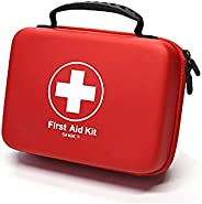 Compact First Aid Kit (228pcs) Designed for Family Emergency Care. Waterproof EVA Case and Bag is Ideal for Th