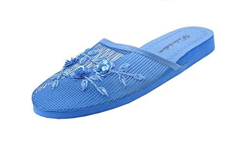 REDVOLUTION Women's Chinese Mesh Flip Fop Sandals Slipper (7, Blue)