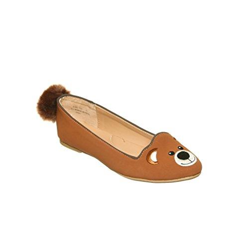 Shoewhatever New Style !! Zapatos Planos Slip-on Del Holgazán Animal Lindo De Las Mujeres Bear