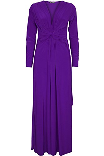Knot Dinner (Oops Outlet Women's Bridesmaid Evening Dinner Date Front Knot Twisted Maxi Dress S/M (US 4/6) Purple)