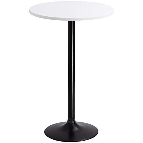 (Furmax Bistro Pub Table Round Bar Height Cocktail Table Metal Base MDF Top Obsidian Table with Black Leg 23.8-Inch Top, 39.5-Inch Height(White))