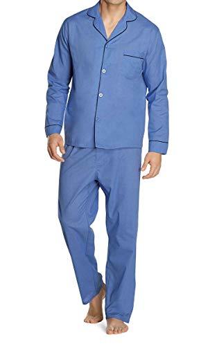 Hanes Men's Long Sleeve Leg Pajama Gift Set,Medium, Medium Blue Solid