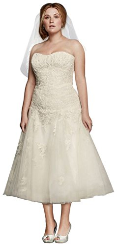 Lace Short Oleg Cassini Tea Length Plus Size Wedding Dress Style 8CWG743,...