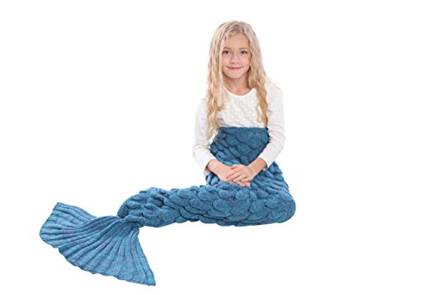[Mermaid Tail Blanket Knit Crochet and Scale Mermaid Blanket for Kids,Sleeping Blanket (55''x28'', Scale] (Girls Swimming Costumes Age 13)