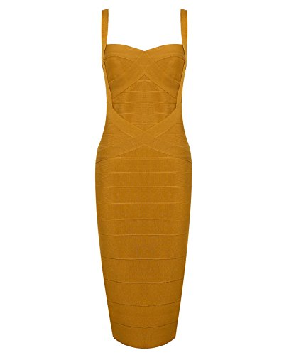 Whoinshop Women's Rayon Strap Celebrity Midi Evening Party Bandage Dress (XL, Ginger-ployester)