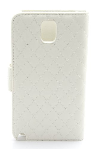 ZZYBIA® NOTE III 3 QHB p Off White Leatherette Stand Case Card Holder Wallet with a Pink Bear Fringed Dust Plug Charm for Samsung Galaxy Note III 3 N9000 N9005