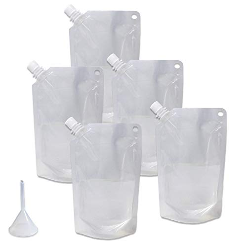 Cruise Ship Flask Kit - Reusable & Concealable Liquor Bags - Sneak or Smuggle Booze & Alcohol (5x16oz + Funnel Included)