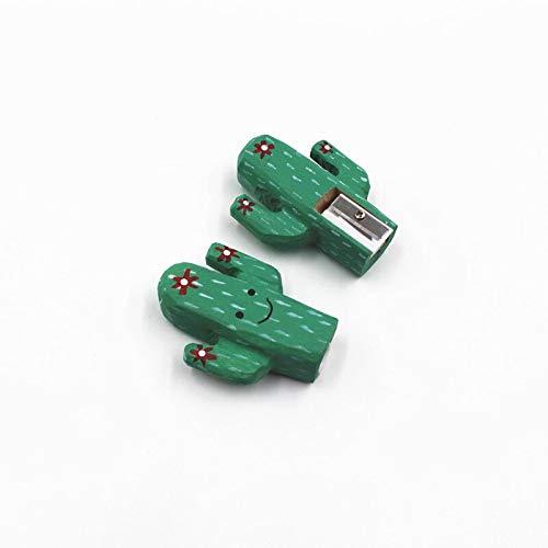 (BYLA Manual Mechanical Sharpeners, for Kids & Colored Pencils, 1-Pack, Wooden animal shape pencil sharpener, handmade - Cactus)