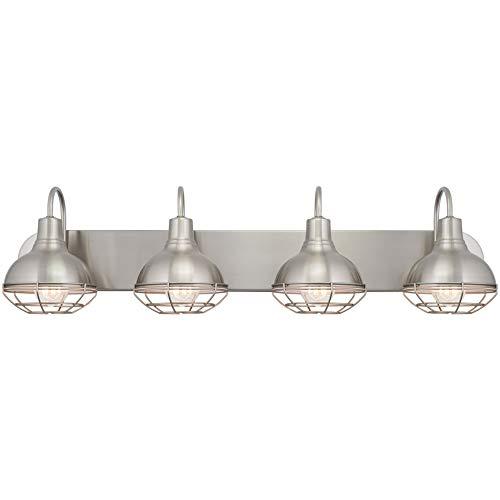 Kira Home Liberty 36 4-Light Modern Industrial Vanity/Bathroom Light, Brushed Nickel Finish